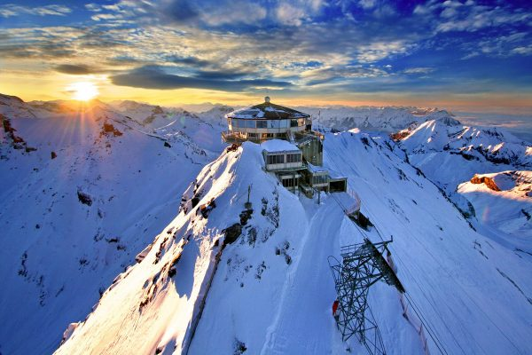 europe, switzerland, snow-capped mountain, cable car
